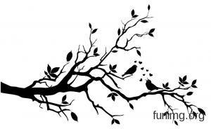 Эскиз трафарета с ветками и деревом | Птичий силуэт ...