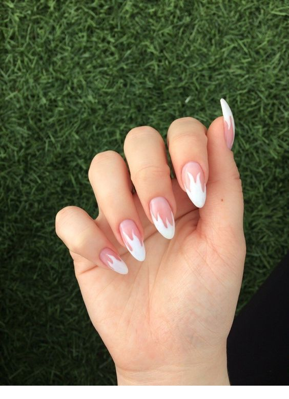 White And Pink Nails Design Pink Nails Pretty Acrylic Nails Fire Nails