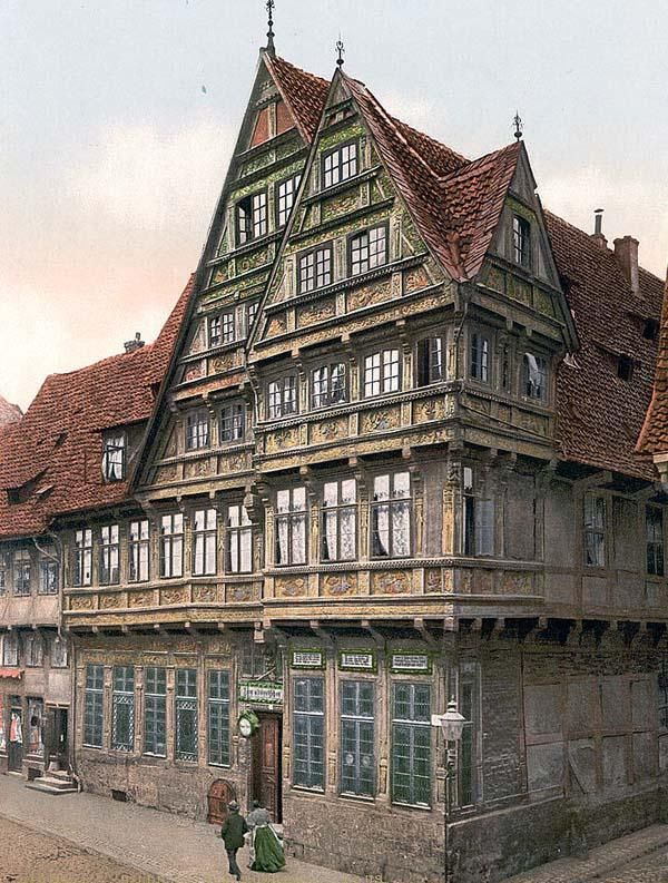 Original Photograph Of Old House Hildesheim Hanover Germany This Color Photochrome Print