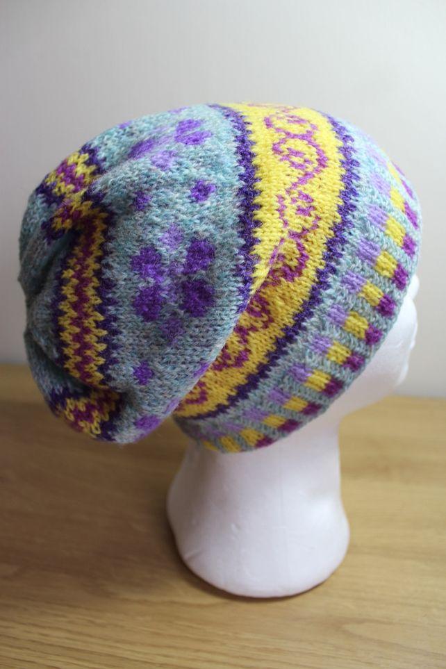 Fair Isle Shetland wool Slouchy Beanie hat £18.50 | creations ...