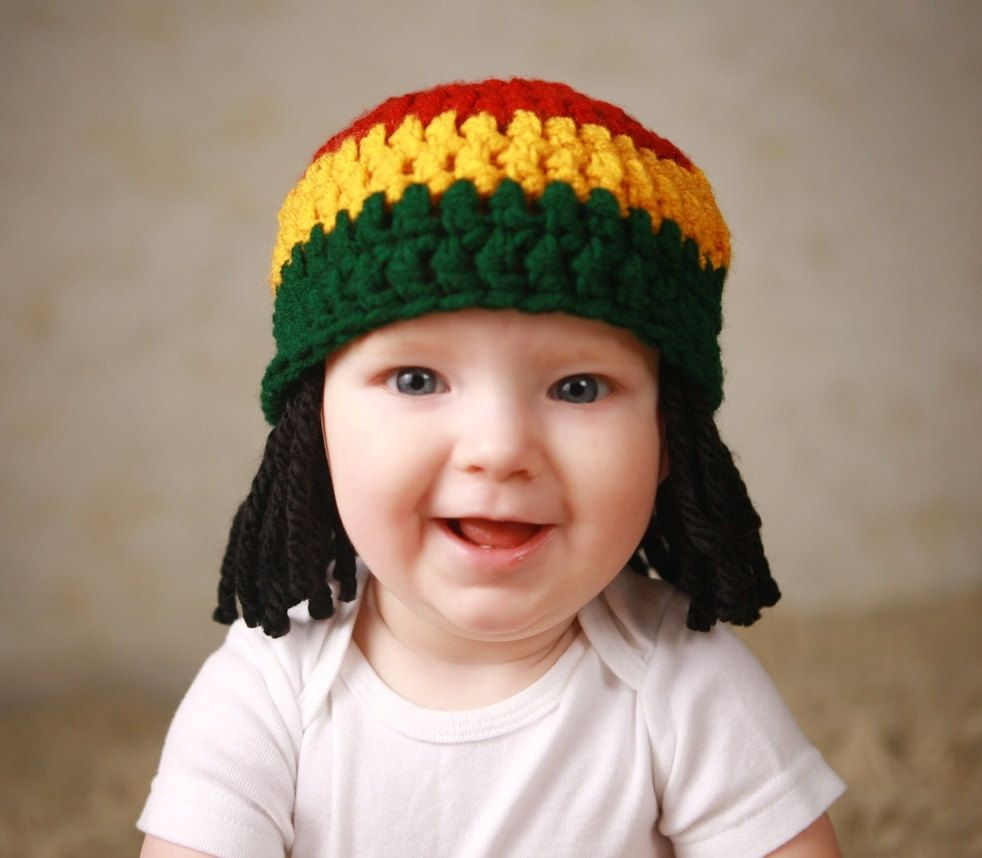 bcb23a84684 Baby Hats Rasta Beanie Wig Photo Props Toddler Costume Phtography Prop Baby  Hat Yellow Rasta Baby Rasta Dreads Black Dreadlocks Baby Wig.  19.95