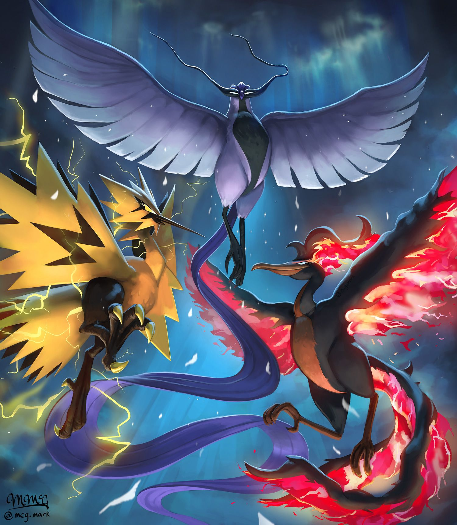 Articuno Zapdos Moltres By Mcgmark On Deviantart In 2020 Articuno Pokemon Moltres Pokemon Cool Pokemon Wallpapers
