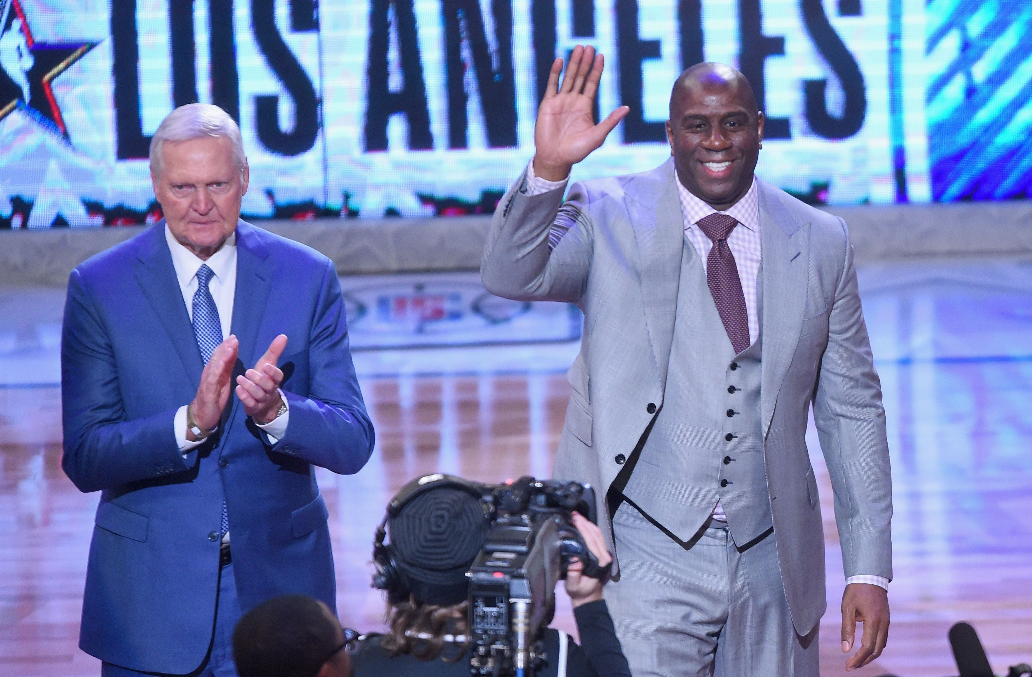 Los Angeles Lakers Magic Johnson vs. Jerry West in the