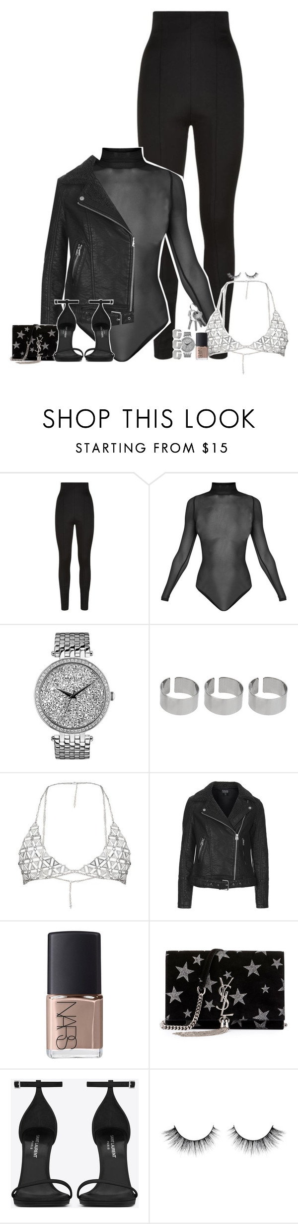 """""""Set 509 -"""" by xjulie1999 ❤ liked on Polyvore featuring Balmain, Caravelle by Bulova, ASOS, Topshop, NARS Cosmetics and Yves Saint Laurent"""