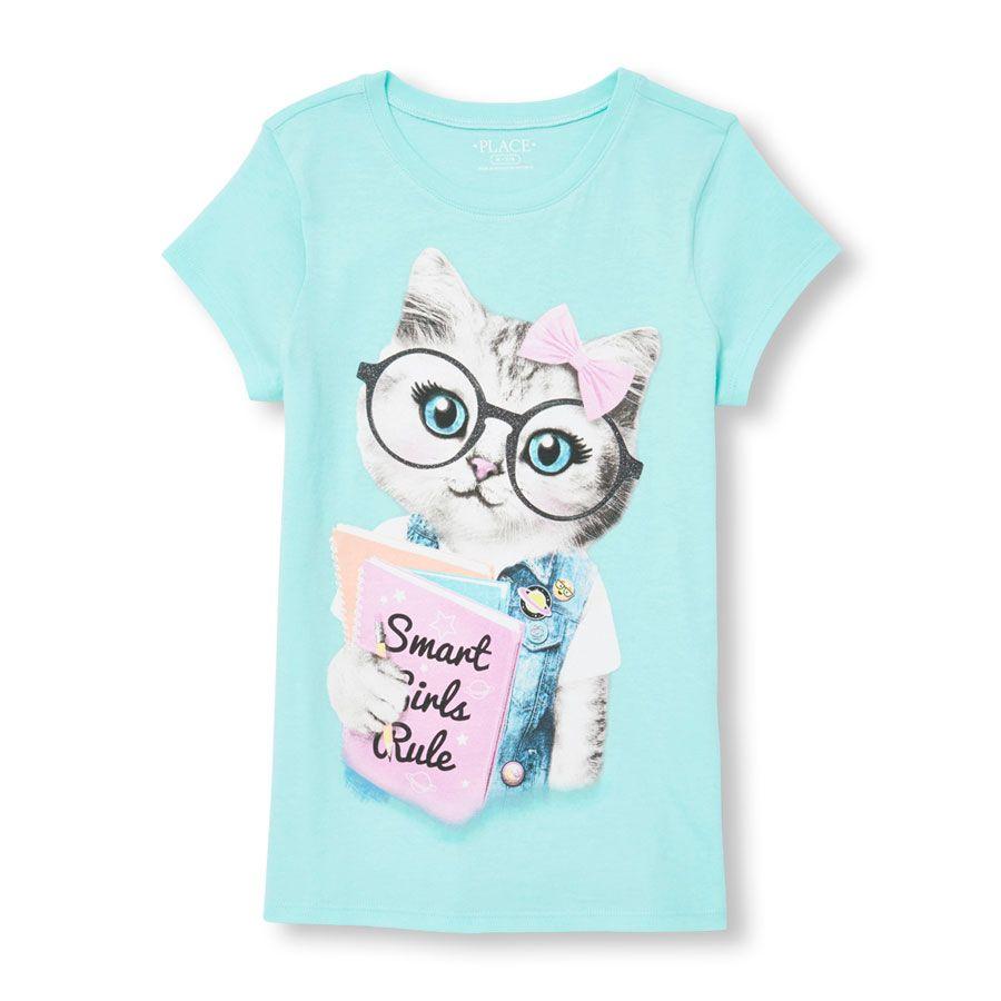 Girls Short Sleeve Glitter Smart Girls Rule Cat Graphic Tee
