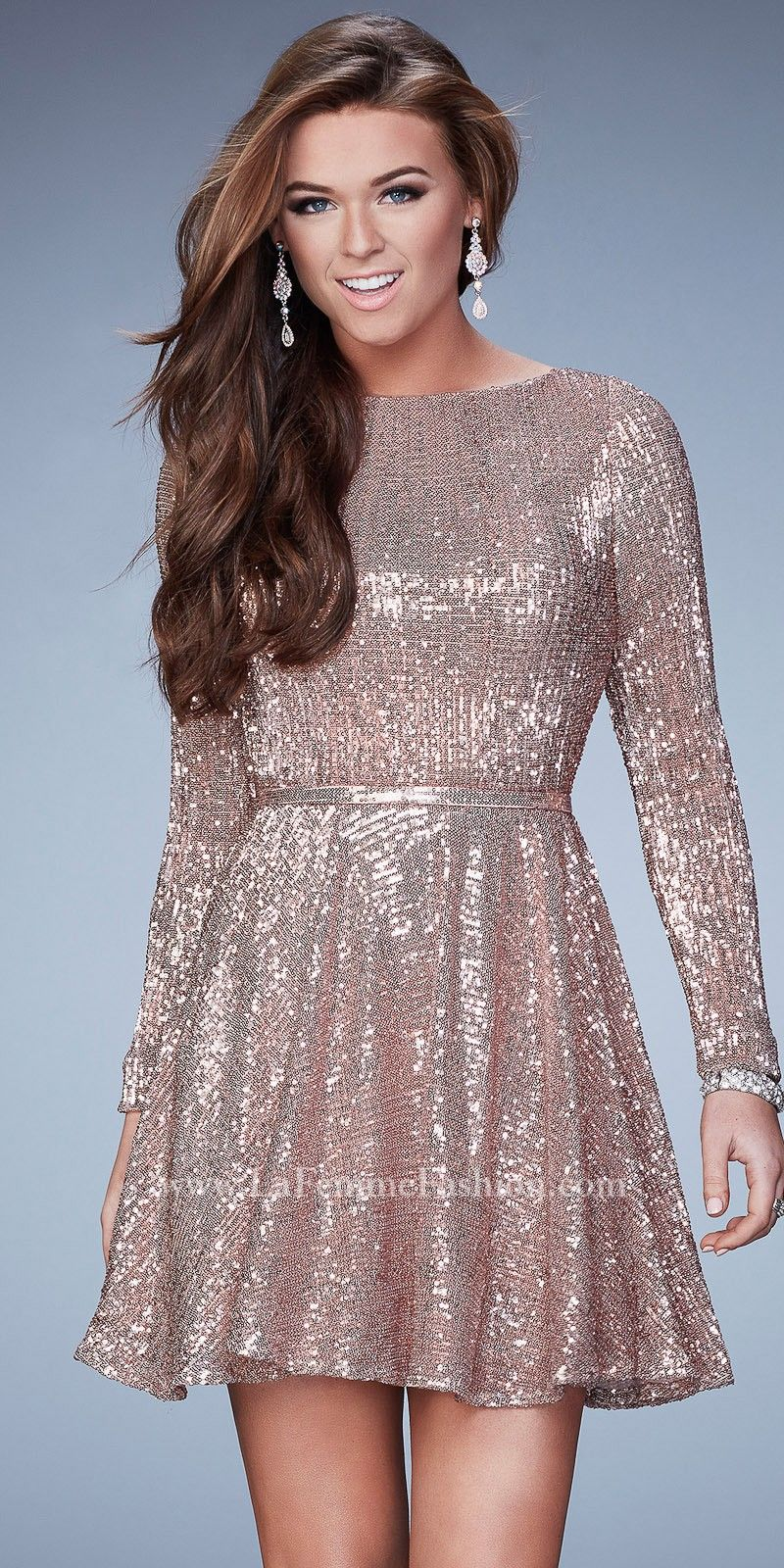Long sleeve cocktail dress for wedding  Long Sleeve Keyhole Sequined Cocktail Dress by La Femme  wedding