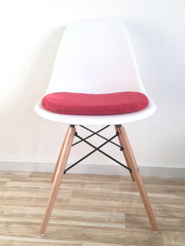 Rotes Sitzkissen Für Eames Stühle Mit Reißverschluss Gepolstert Mit  Schumstoff 3 Cm Oder 6 Cm Höhe