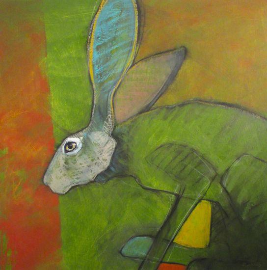 """""""Green Hopper"""" oil on panel 24"""" x 24"""" $2400 Rebecca Haines"""