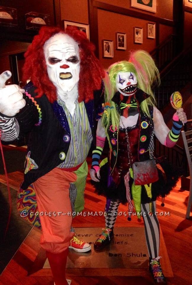 Creepy Clown Couple Costume Clown Halloween Costumes Halloween