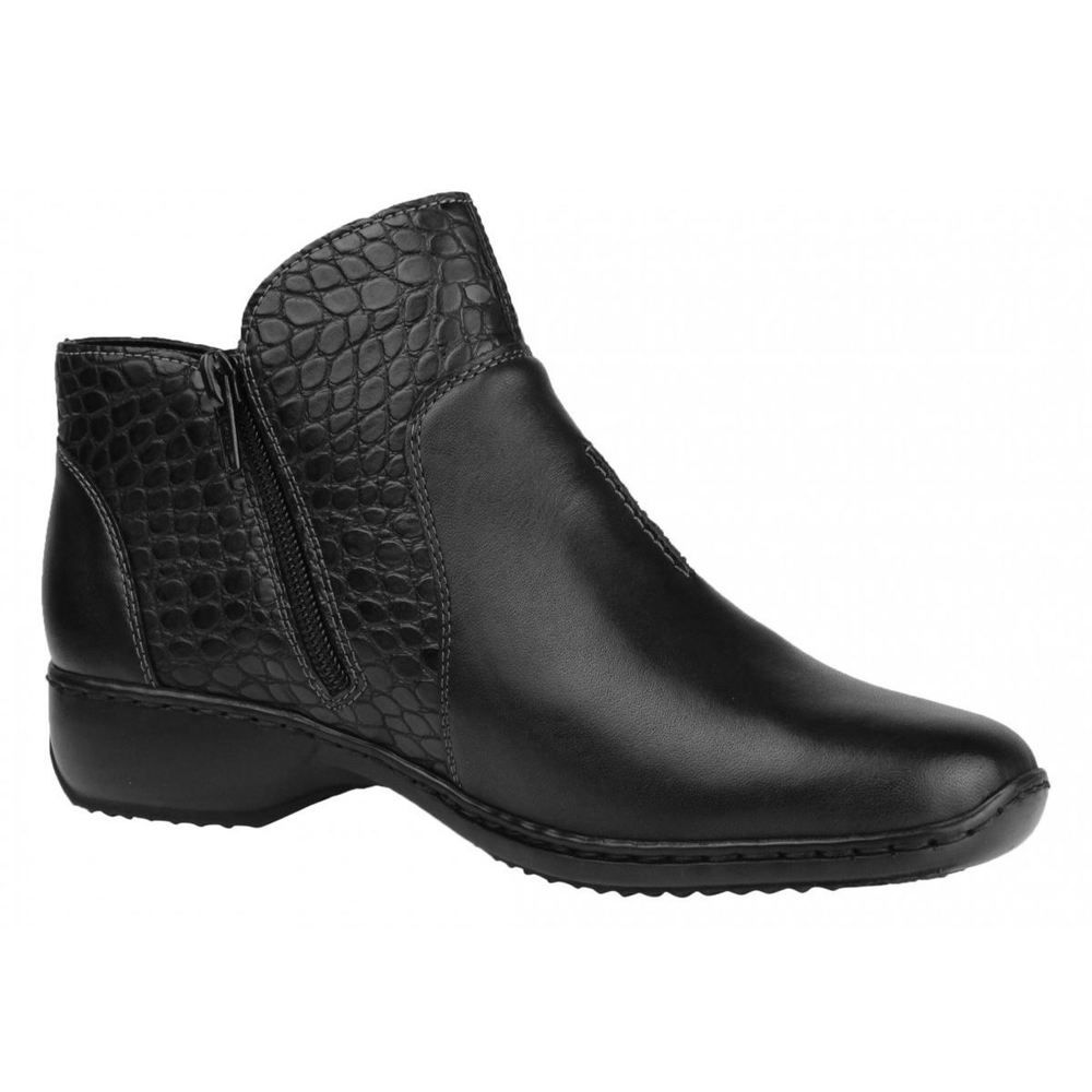 62d8cbf5937 Rieker L3869-00 Black Womens Leather Zip-up Antistress Ankle Boots ...