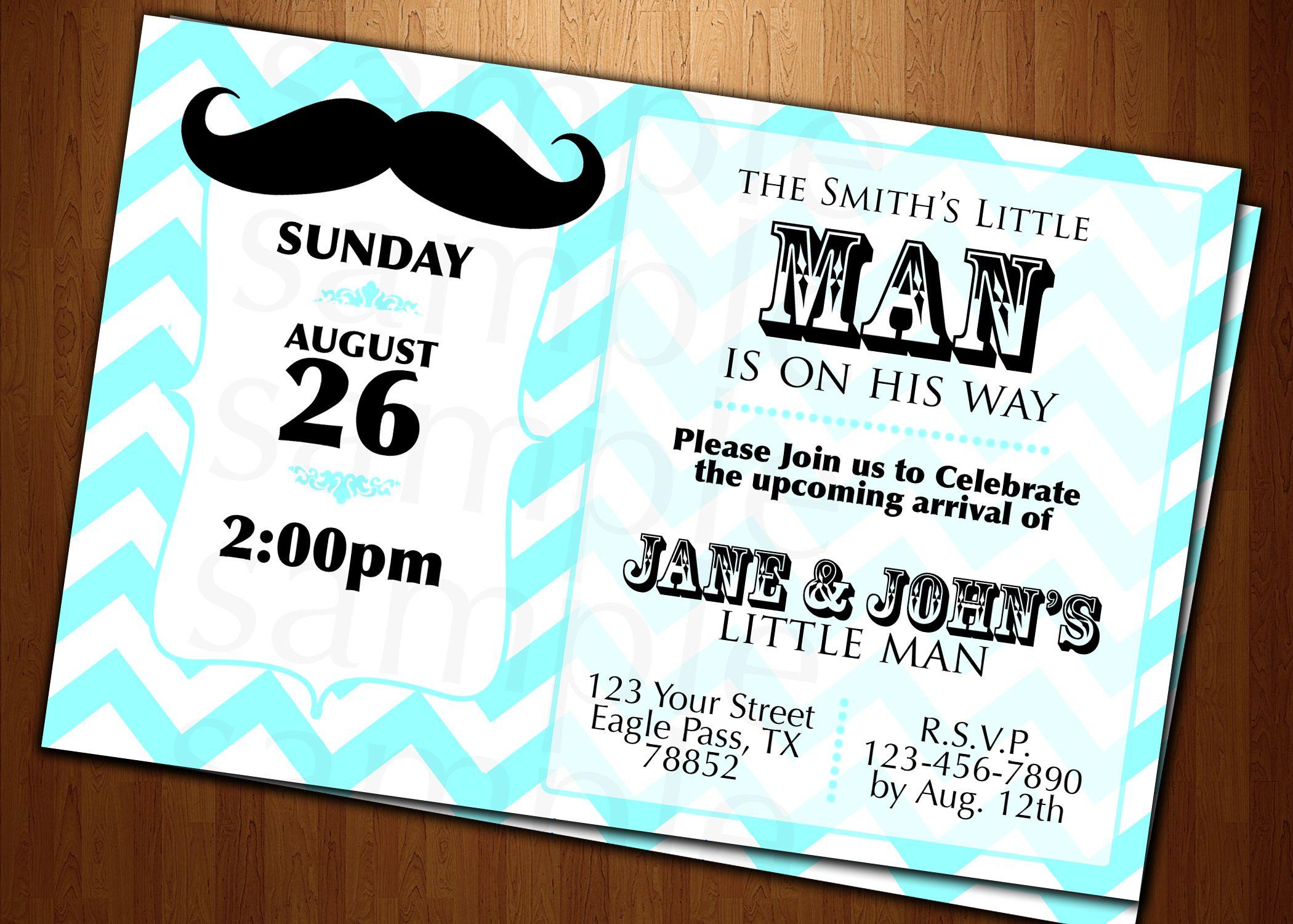 Mustache Baby Invitations | BABY shower little man Mustache ...
