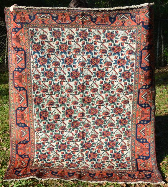 Antique Persian Rug Tribal Afshar W Fine Fl Pattern Square Ish Size Ivory Red Green Blue Yellow