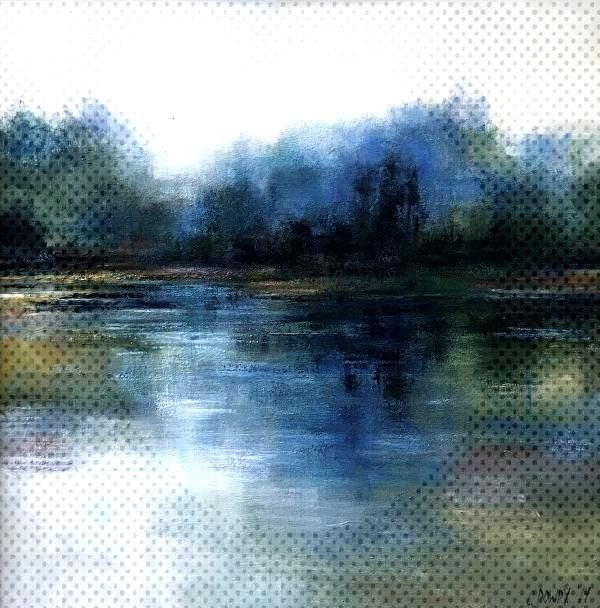 Abstract Blue Reflections, Waterside Landscape by christina dowdy Acrylic/oil ~ 30 x 30