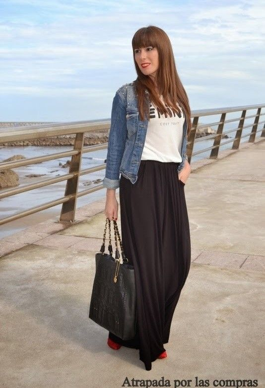 Enbuscadeideas | FALDA LARGA NEGRA | Chicisimo | Long Skirt Ideas | Pinterest | Falda Larga ...