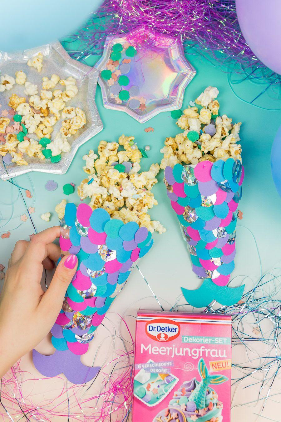 meerjungfrauen party diy ideen popcornt ten selber machen diy deko pinterest. Black Bedroom Furniture Sets. Home Design Ideas