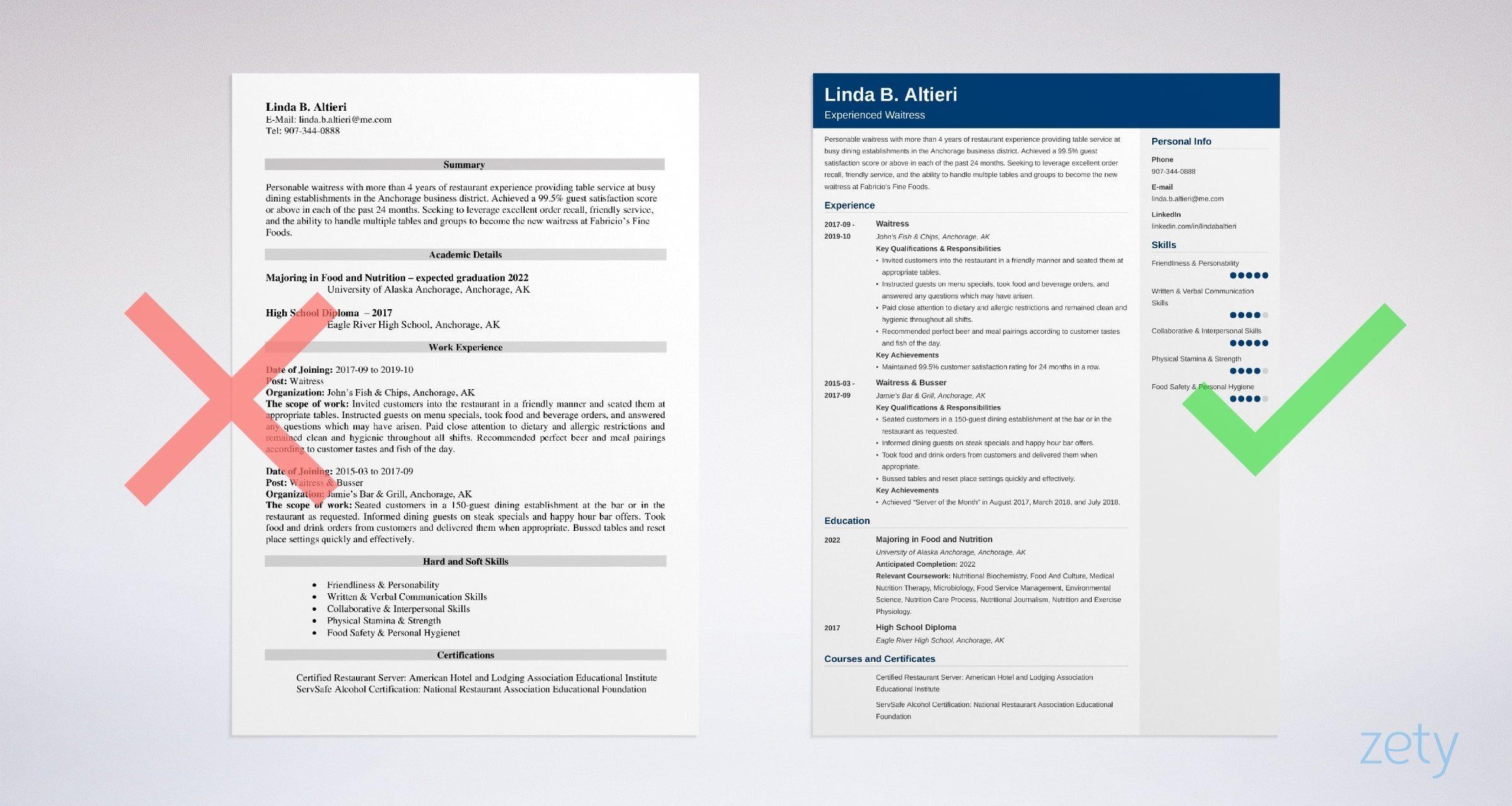 Waiter Waitress Resume Sample Guide 20 Examples Teacher Resume Template Free Teacher Resume Template Event Planner Resume