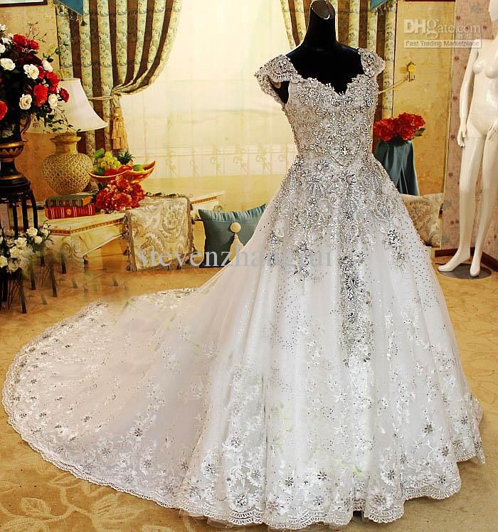 2013 New Style Off Shoulder Crystals Wedding Dresses Cathedral Train Bling Bridal Gowns