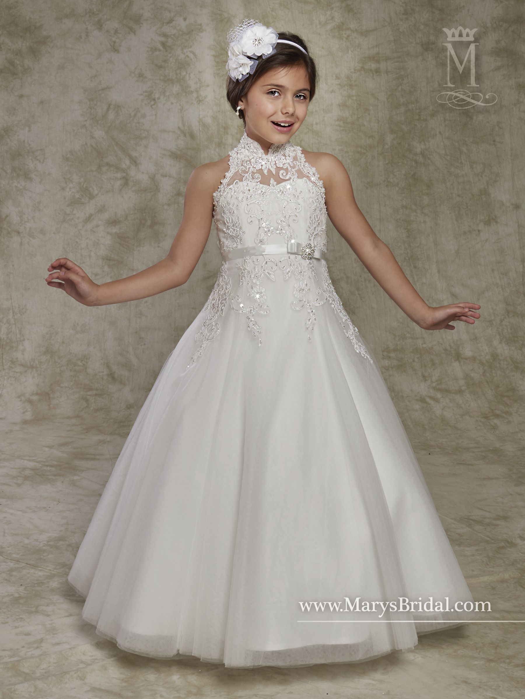f423fb86fb9 Halter tulle and lace A-line flower girl dress with high neck