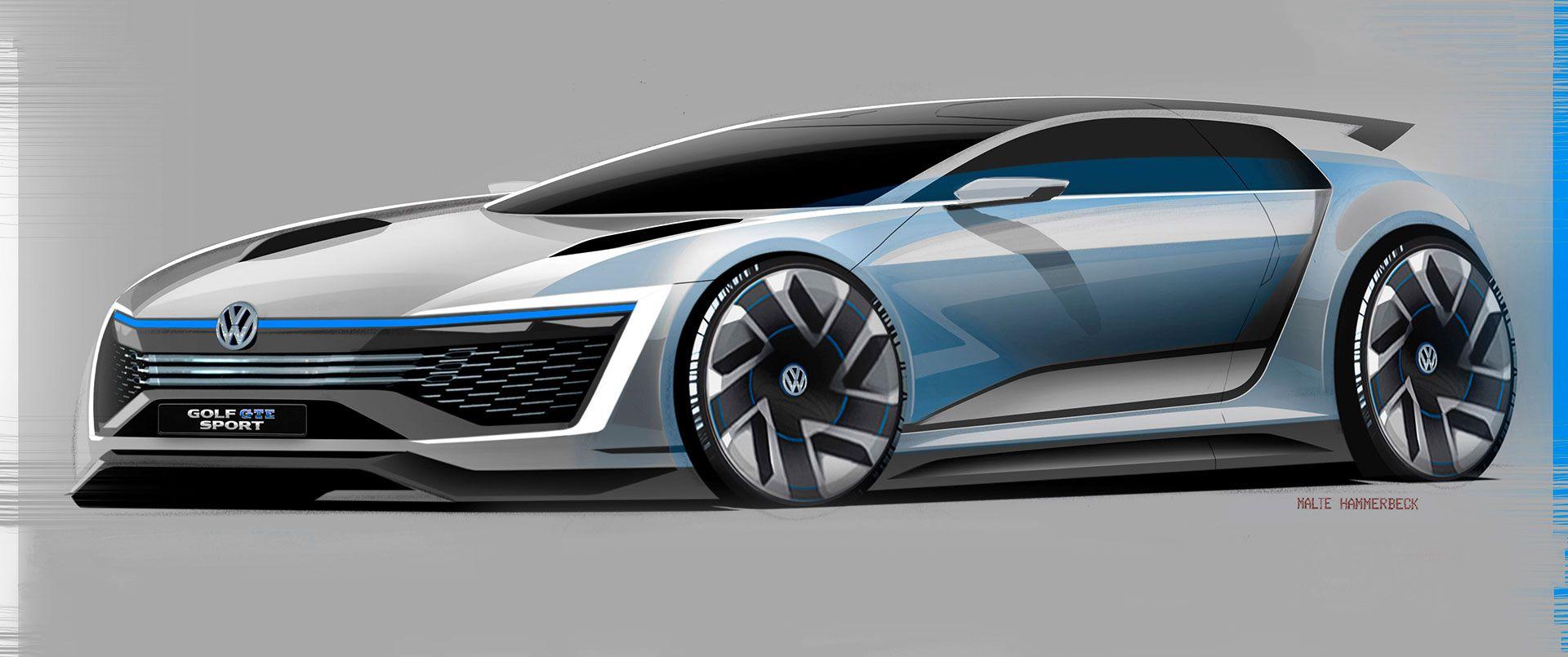 High Quality Volkswagen Golf GTE Sport Concept Design Sketch