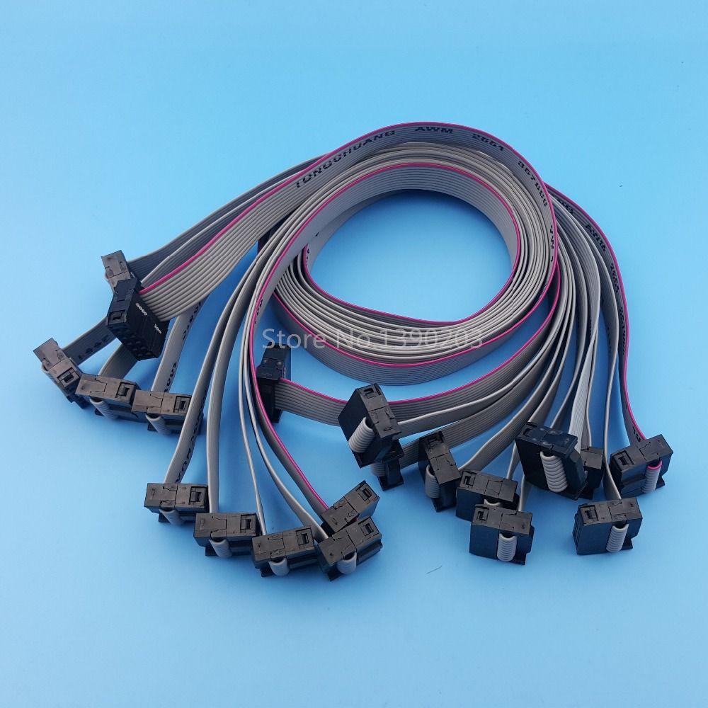 10pcs 50cm 2x5 10pin Idc Flat Ribbon Data Cable 2 54mm Pitch Avr Isp Jtag Wire Draad