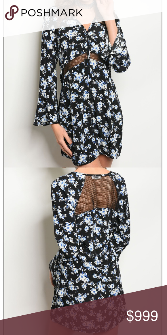 5c2fcc488e Coming soon   BLACK BLUE OFF WHITE DRESS Fabric Content  100% POLYESTER  Size Scale  XS-S-M-L Floral print woven dress features long bell sleeves  and mesh ...