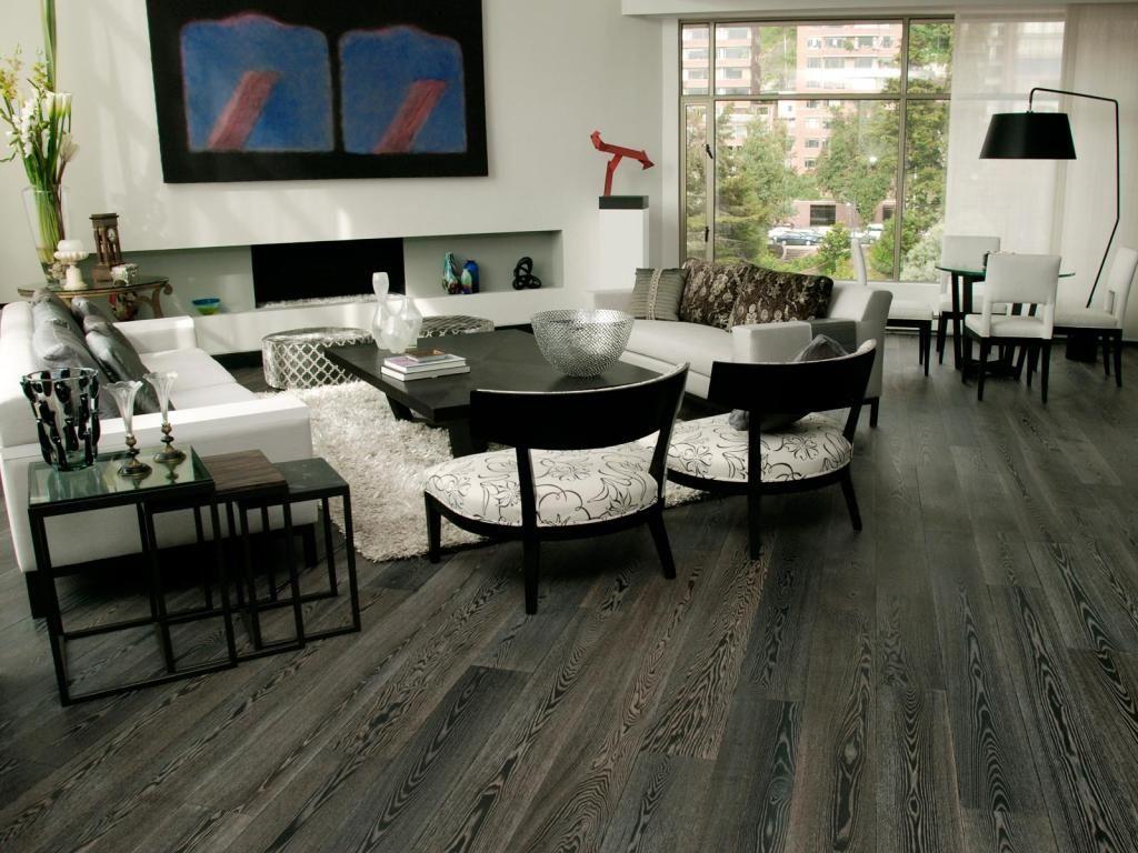 Dark Grey Laminate Flooring For Modern Livng Room Home