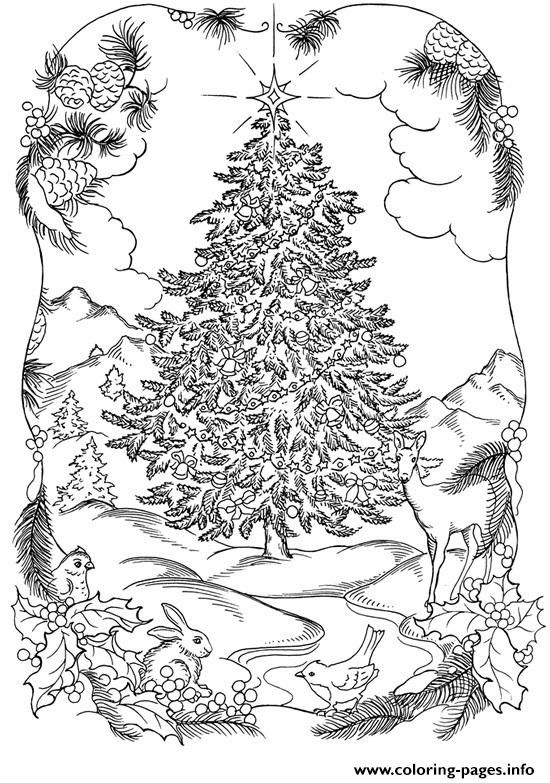 Print Adults Christmas Tree In Nature Coloring Pages