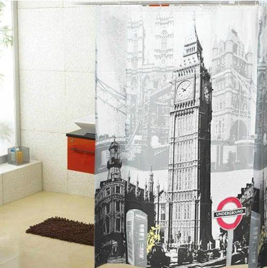 L Eo Waterproof Olympic Style Big Ben In London Shower Curtain