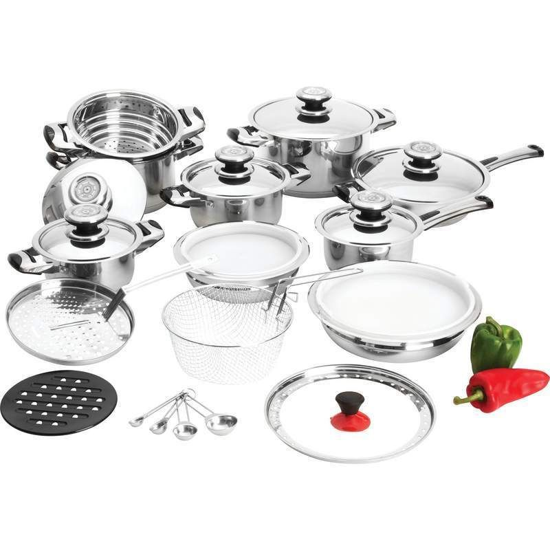 BNFUSA KTOP3 T304 Stainless Steel Frypan Set With Long Riveted Handles