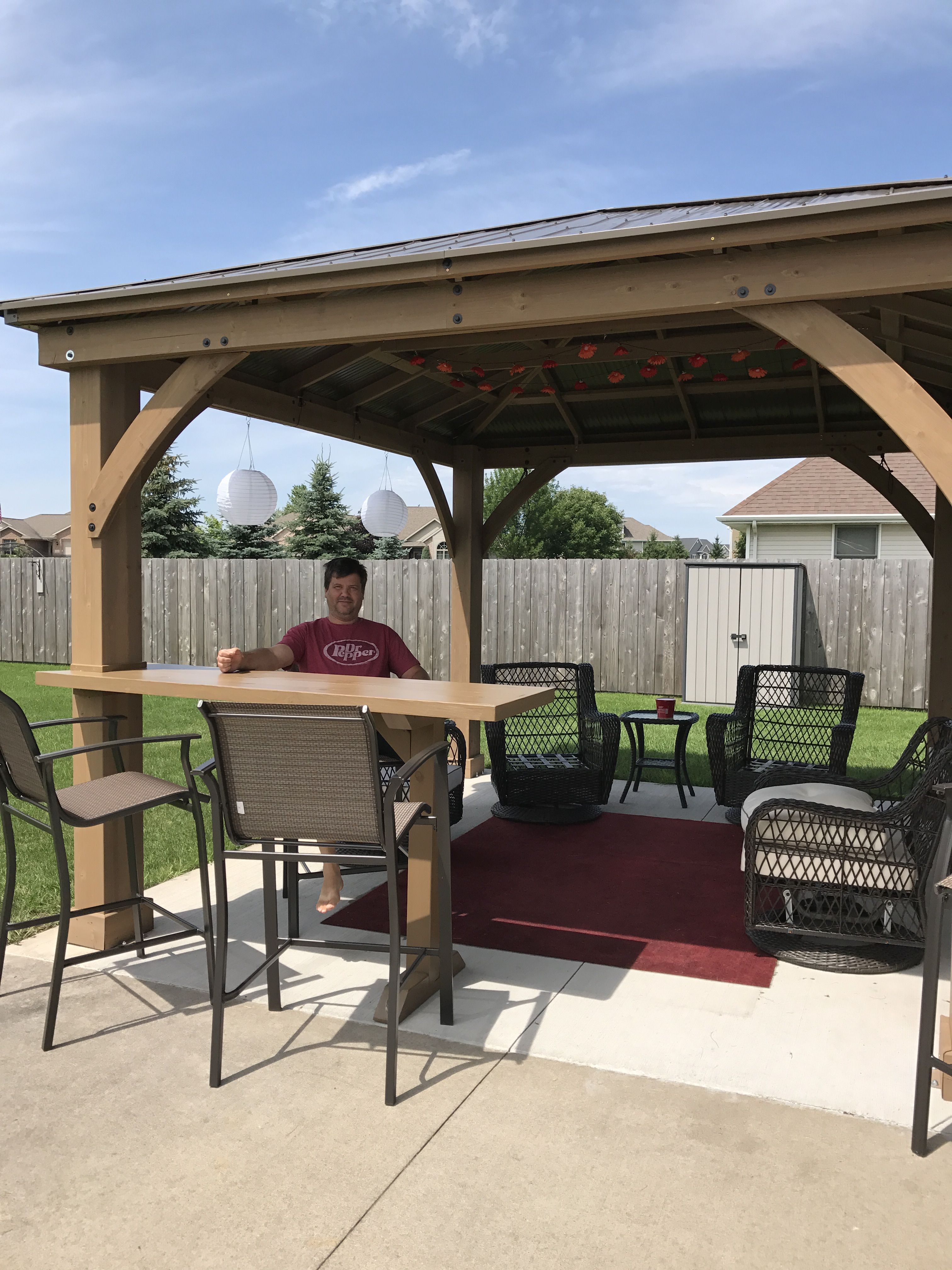 Our Yardistry Gazebo with custom bar top addition ... on Yardistry Backyard Pavilion id=69491
