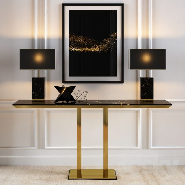 3d Models Table Console In Gold And Black Marble Finishes Black Console Table Decor Art Deco Interior Living Room Contemporary Console