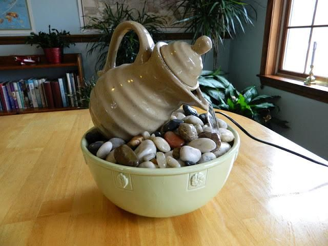 Diy tabletop fountains diy garden backyard fountains for Homemade tabletop water fountain