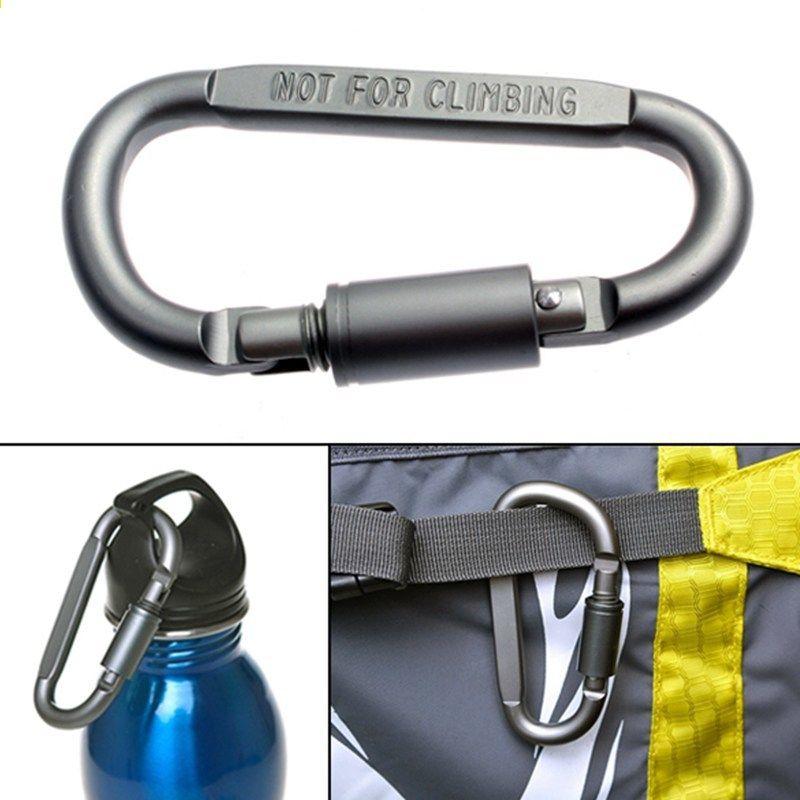 Outdoor Climbing Hiking Sports Screw Lock D Aluminum Carabiner Hook Keyring Clip