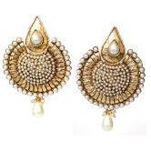 White Chand Bali Earring with Polki and Antique Gold Finish