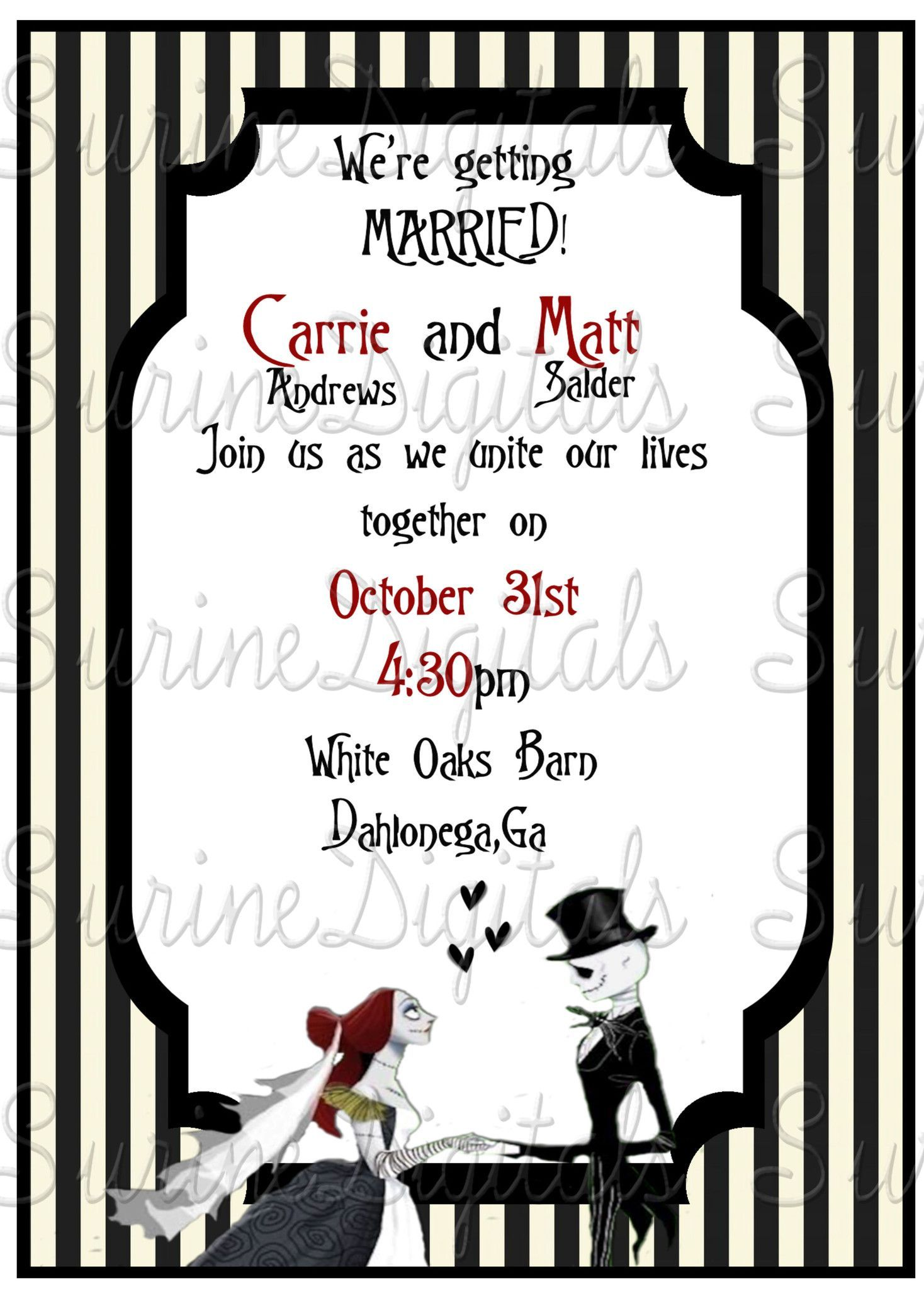 Jack and Sally Wedding Invitation Suite/ Nightmare Before Christmas ...