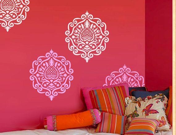 Décoration Murale Pochoir Marocain Damask Pattern Mur Chambre Faite