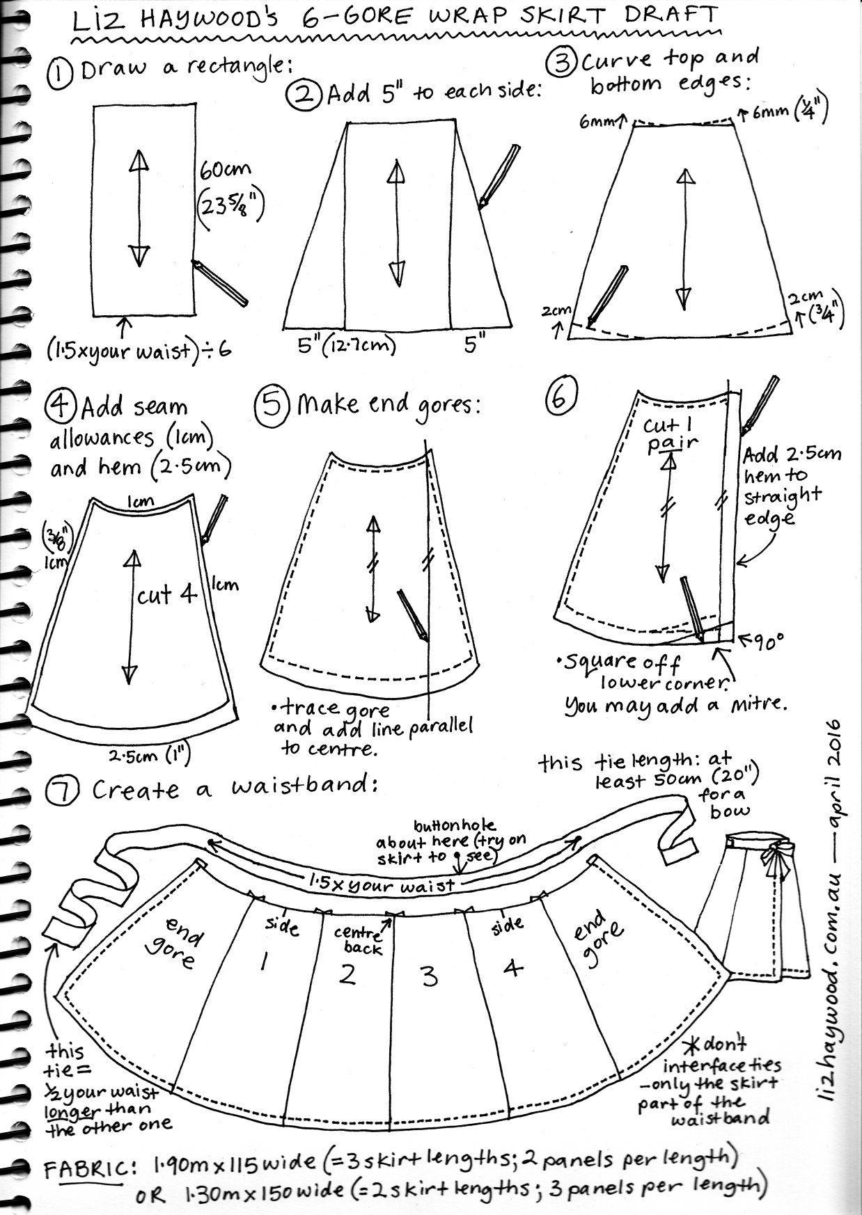 Free wrap skirt pattern summary | Mode/apron | Pinterest | Costura ...