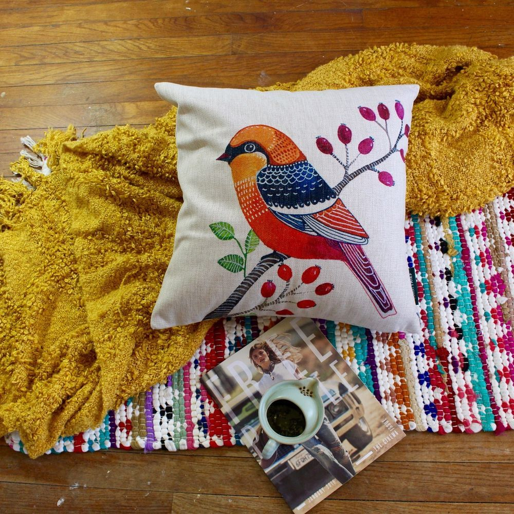 Vintage-inspired Orange Bird and Tree Premium Cotton Linen Pillow Case #ArtDecoStyle