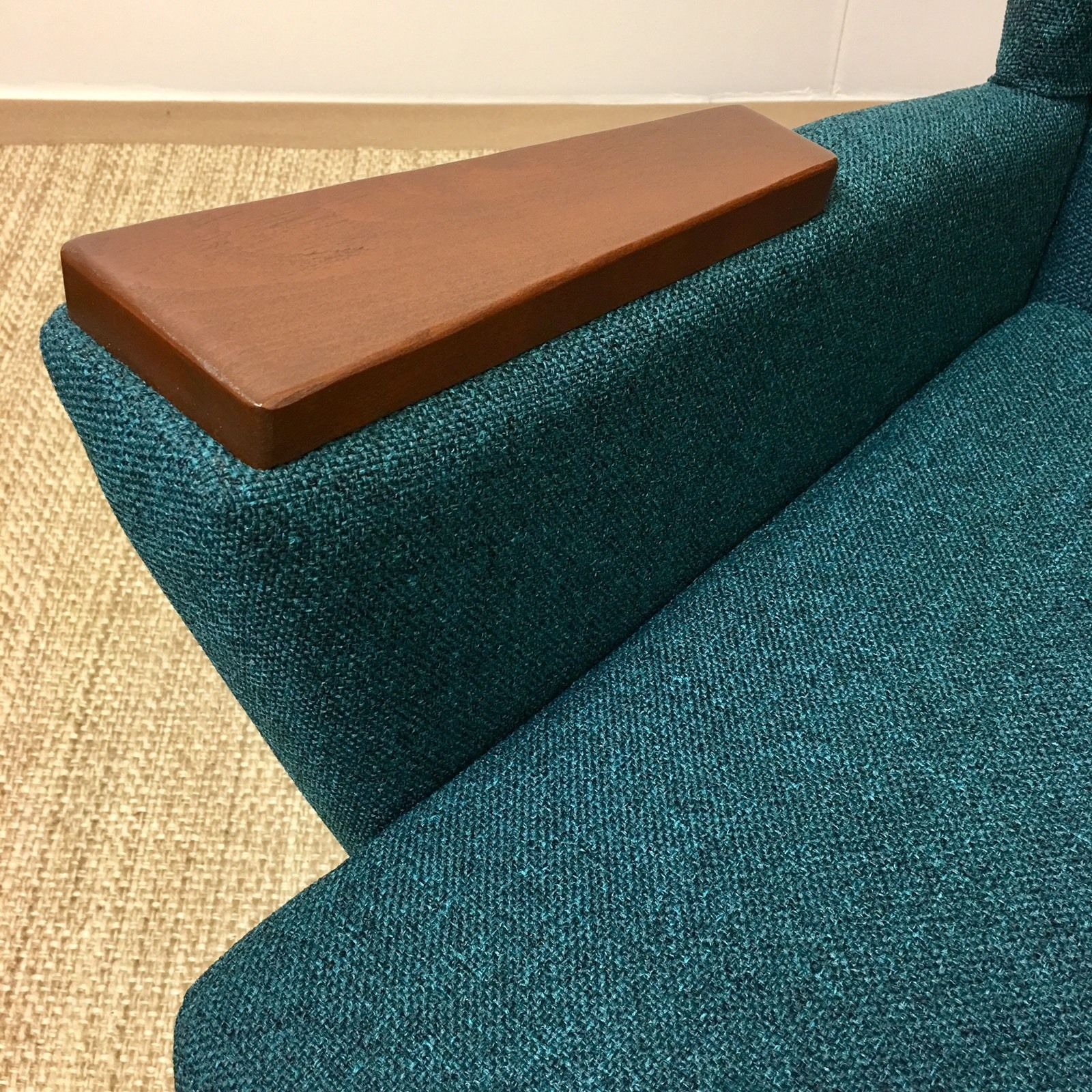 Best Teal Green Tweed Fabric Upholstery For Mid Century Modern Vintage Danish Ebay