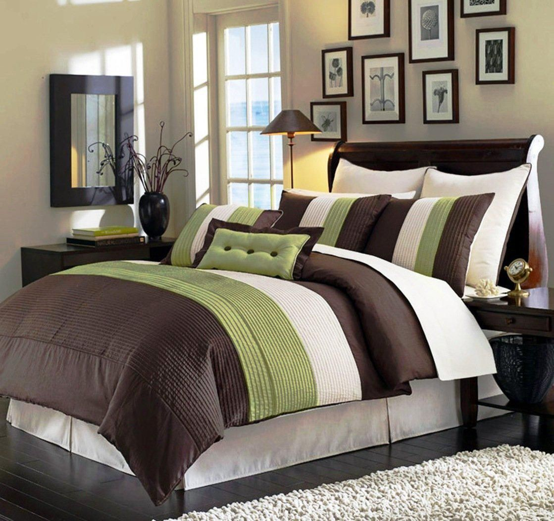 8 Pieces Beige, Green and Brown Luxury Stripe Comforter X Bed-in-a-bag Set  King Size Bedding - Product Description: Comforter sets are designed to  keep you ...