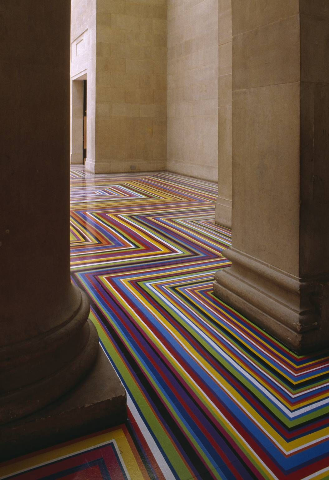 Jim Lambie - Zobop 1999, installation made with vinyl tape, Tate Britain