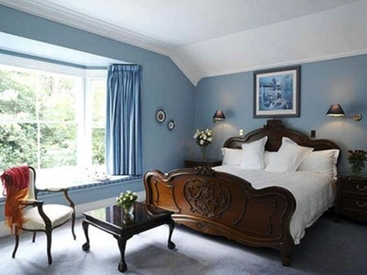 Beautiful Bedroom Color Schemes With Clic Brown Furniture And Sky Blue Theme Photo