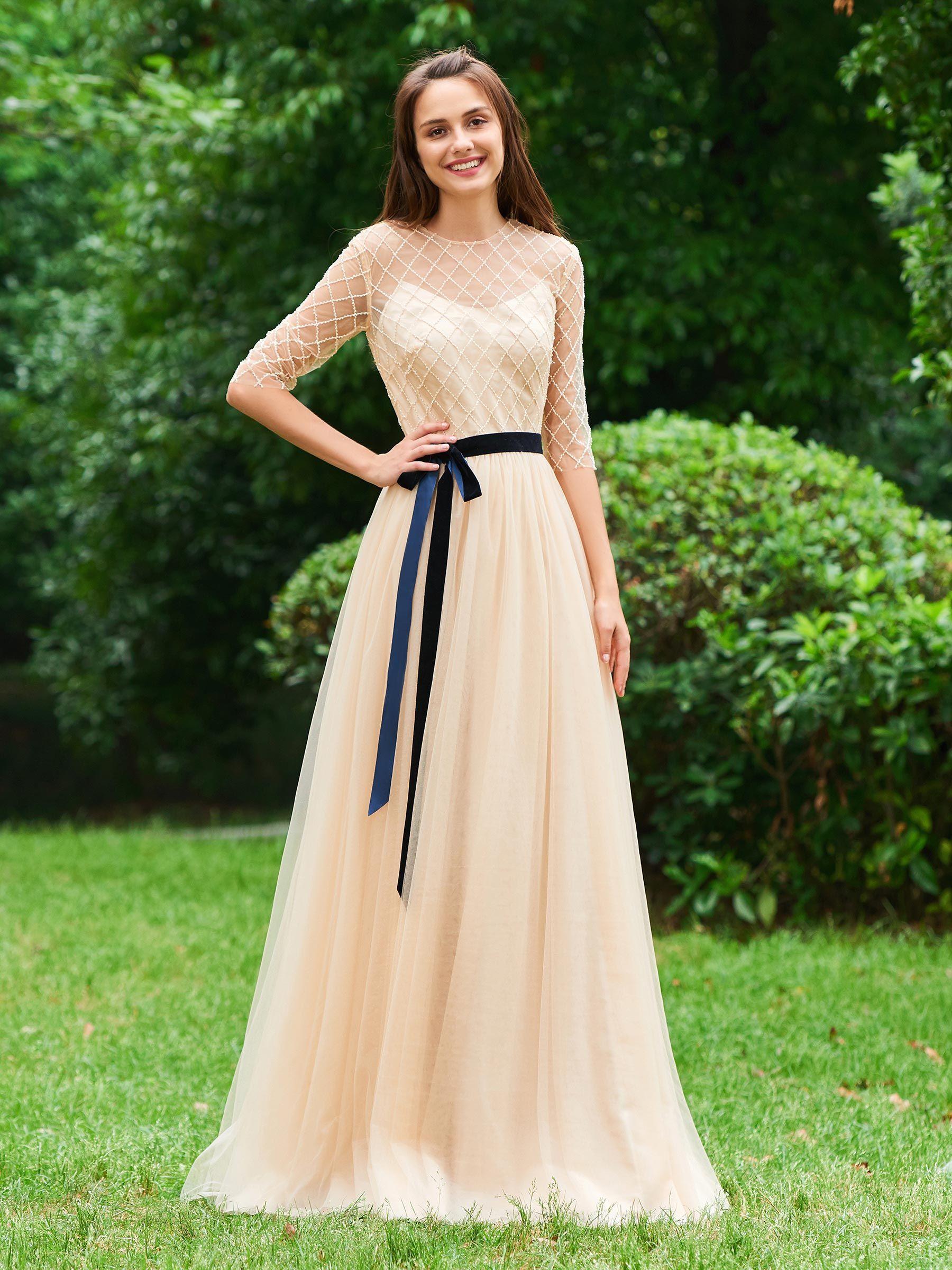 Ericdress 3 4 Sleeve A Line Long Evening Dress Evening Dresses Evening Dresses Long Lace Formal Dress [ 2400 x 1800 Pixel ]