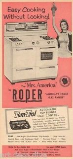 vintage oven ad picture | 1950s vintage PINK Roper KITCHEN Gas Range STOVE Oven MRS. AMERICA