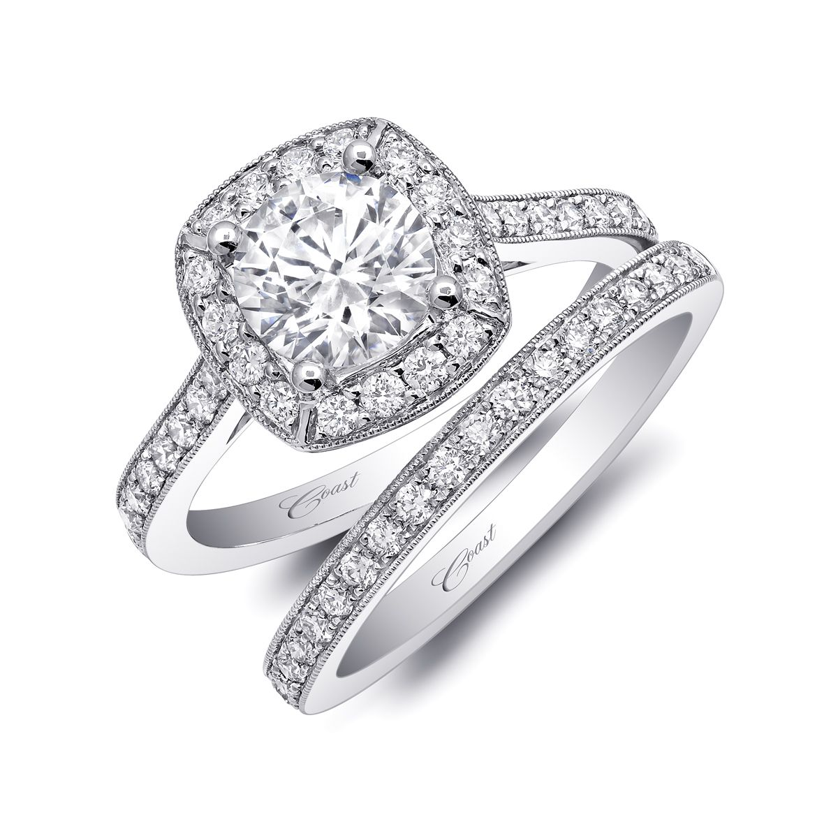 14k Milgrain Engagement Ring With Pave' Band.