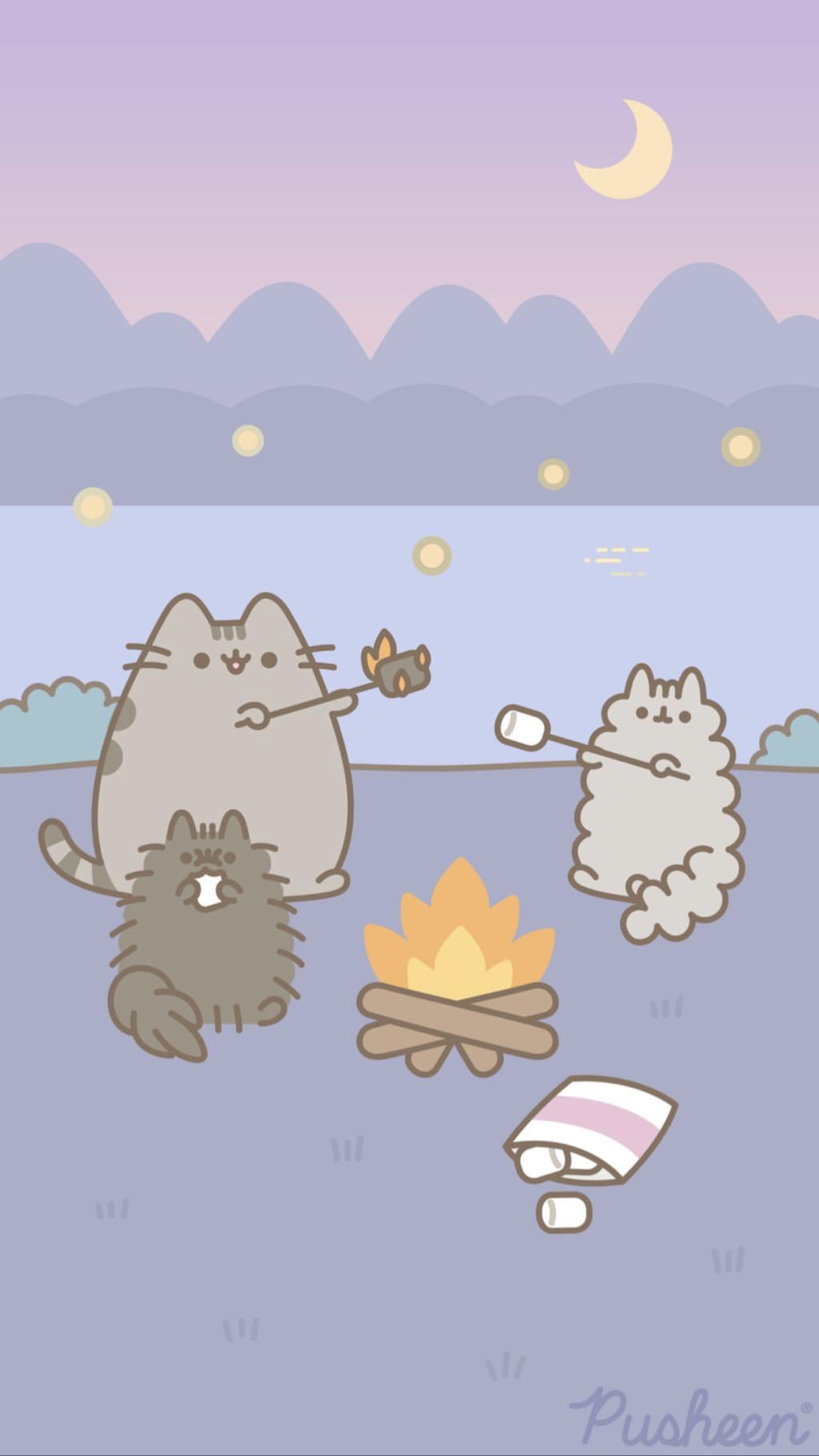Pusheen The Cat Iphone Wallpaper Camping Summer Pusheen Pusheen Cute Iphone Wallpaper Cat