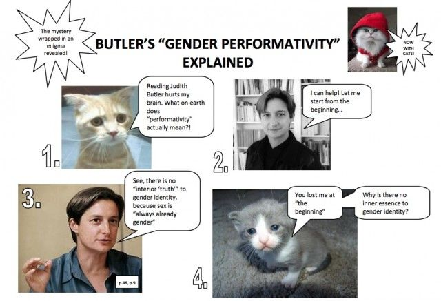 The Philosophy Of Judith Butler Is Best Explained In Cat Pictures Mary Sue Gender Performativity Butler
