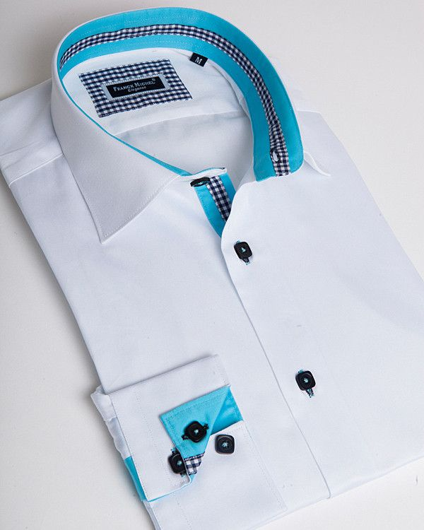 e457b184 Men's designer shirts - Sheraton blue | Franck Michel Fall ...