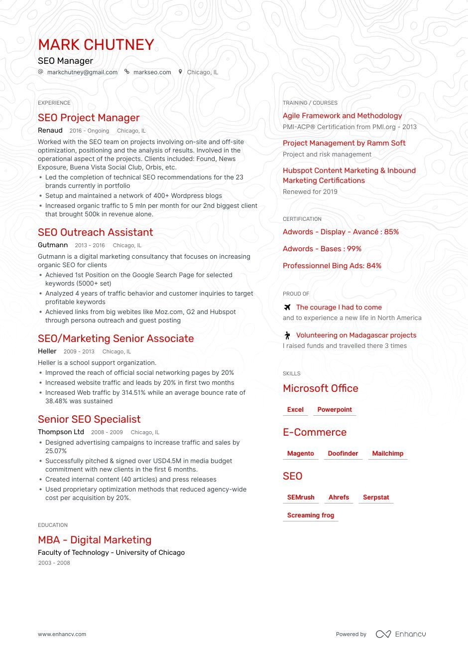 Get to know how to write a perfect SEO Manager resume in