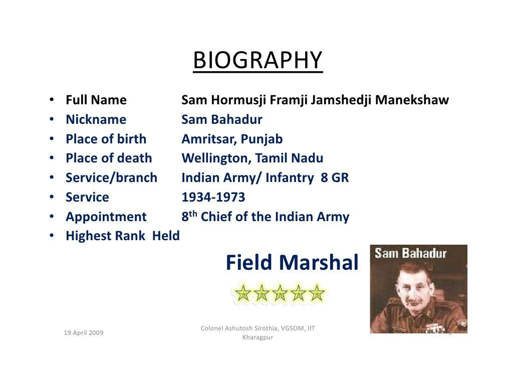 Field Marshal Shfj Manekshaw Field Marshal Army Infantry Indian Army